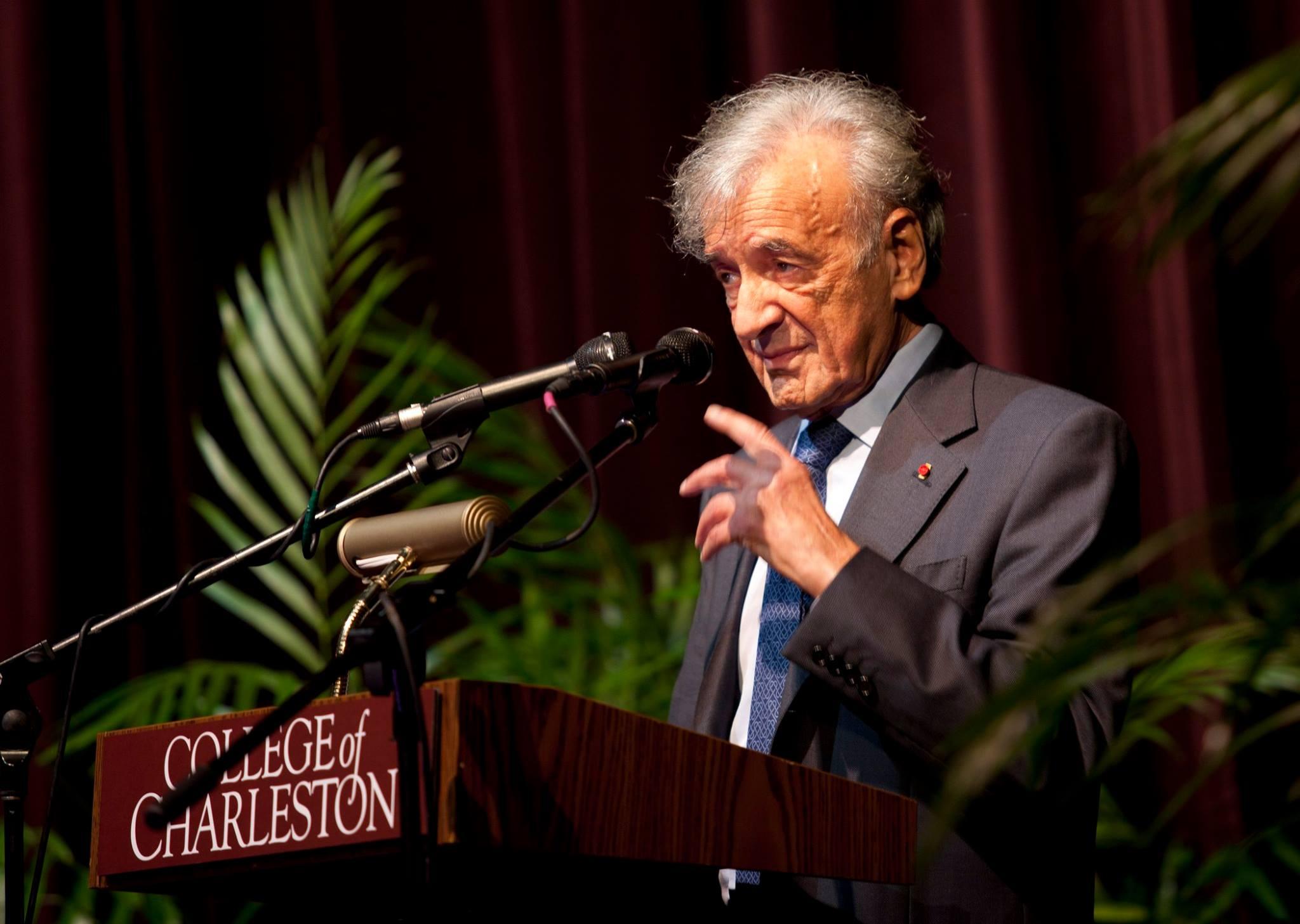 Elie Weisel speaking at the College of Charleston